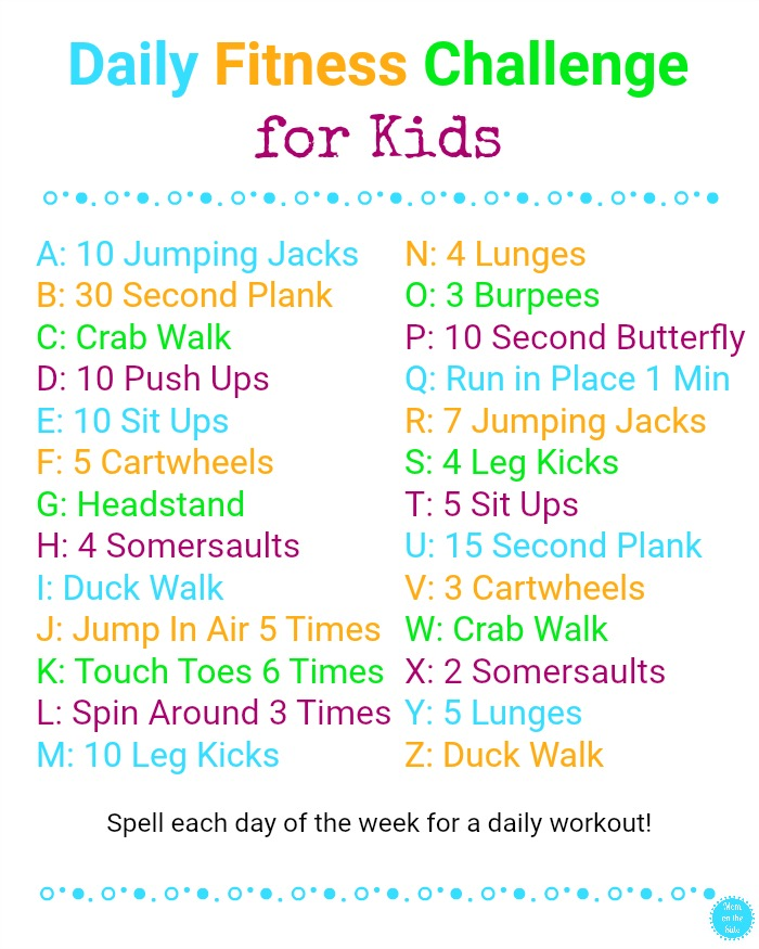 free printable kids daily fitness challenge