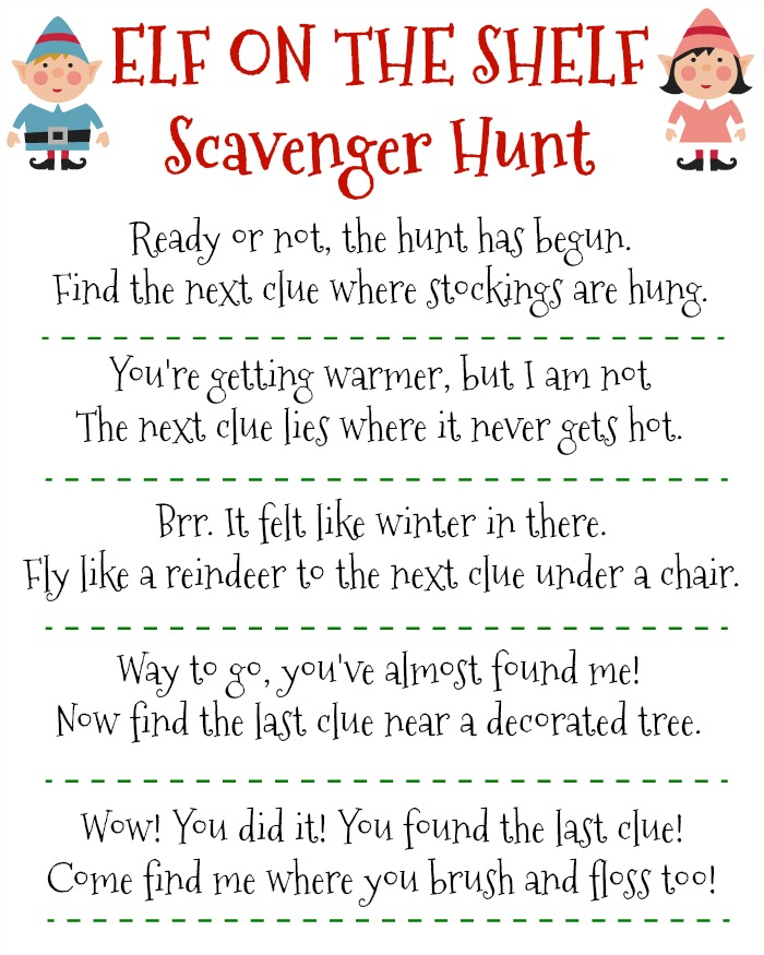 Free Printable Elf on the Shelf Scavenger Hunt for Christmas