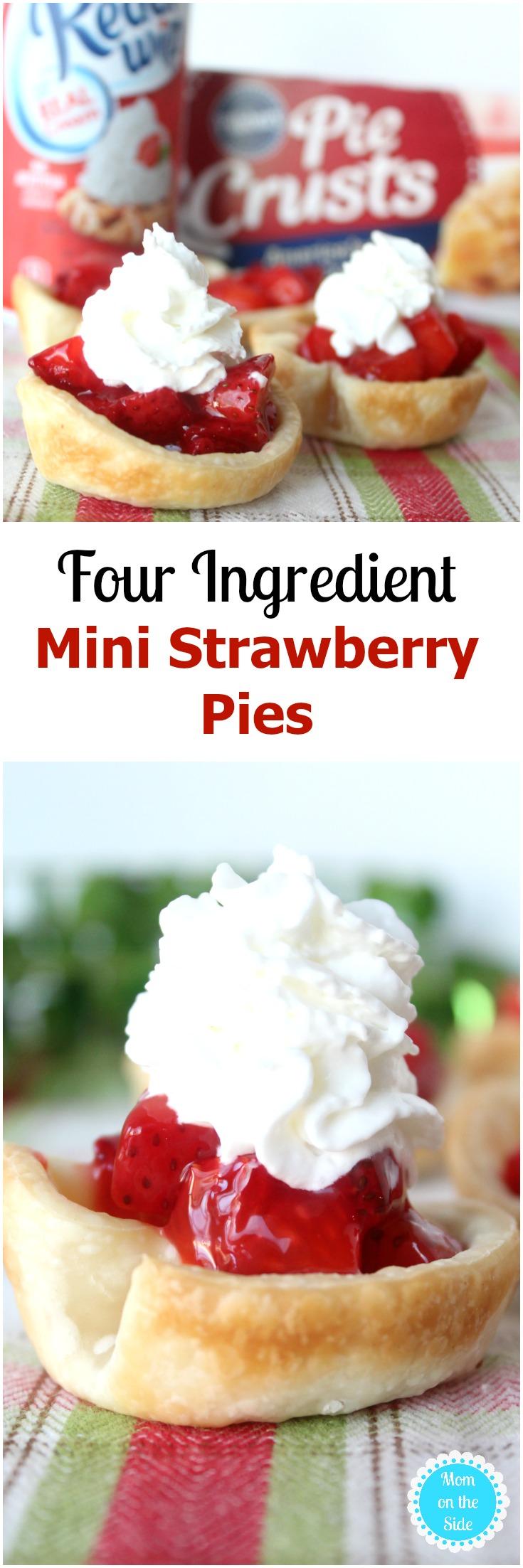 Santa Hat Desserts - Mini Strawberry Pies made with Pillsbury Refrigerated Pie Crust and Reddi-wip
