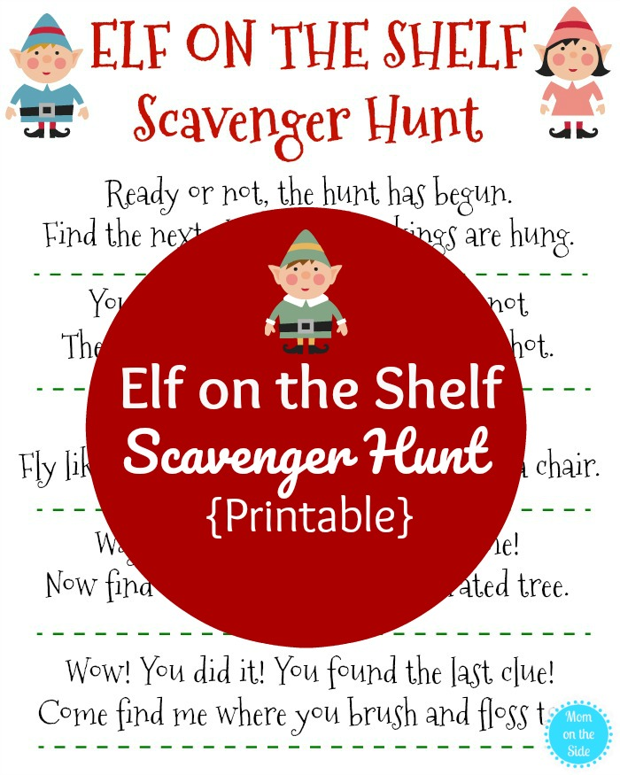 elf on the shelf scavenger hunt printable