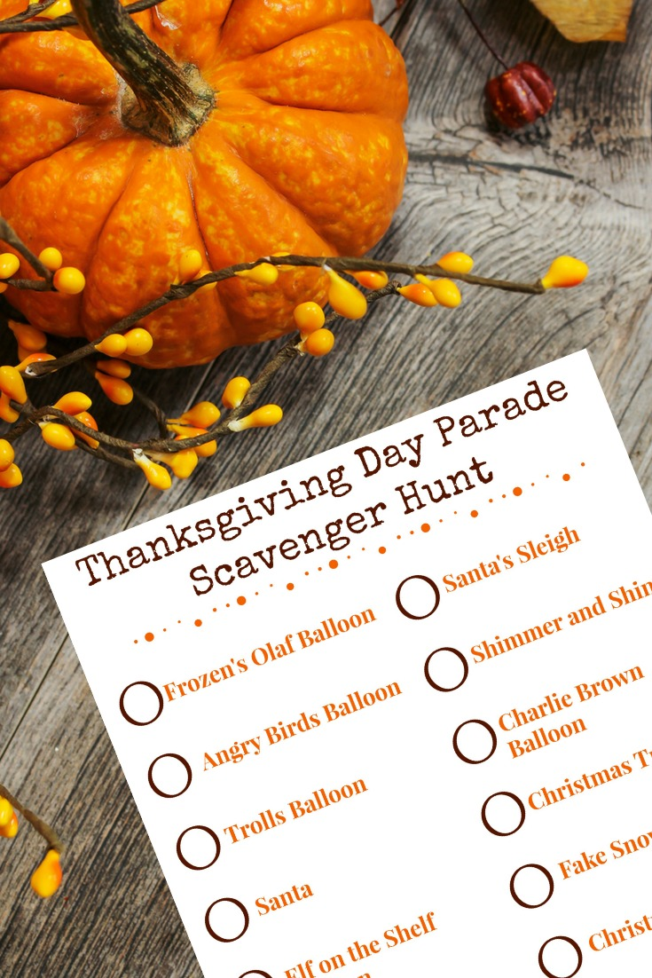 Printable Thanksgiving Day Parade Scavenger Hunt if you are watching Macy's parade!