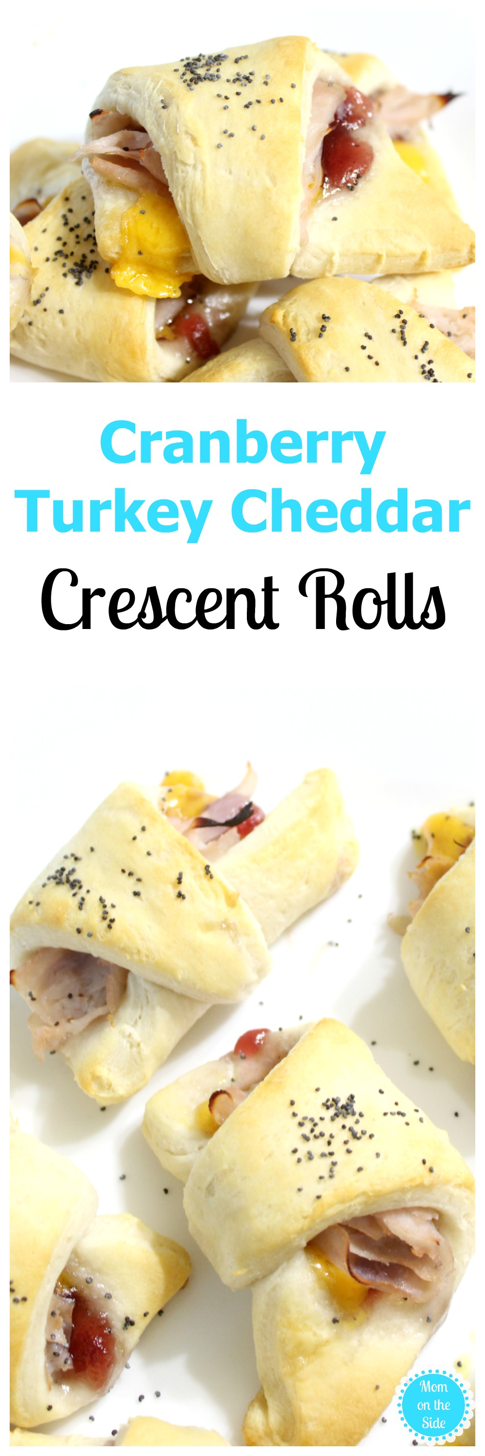 Thanksgiving Recipe for Cranberry Turkey Cheddar Crescent Rolls that are a great appetizer or perfect for leftover turkey after Thanksgiving dinner!