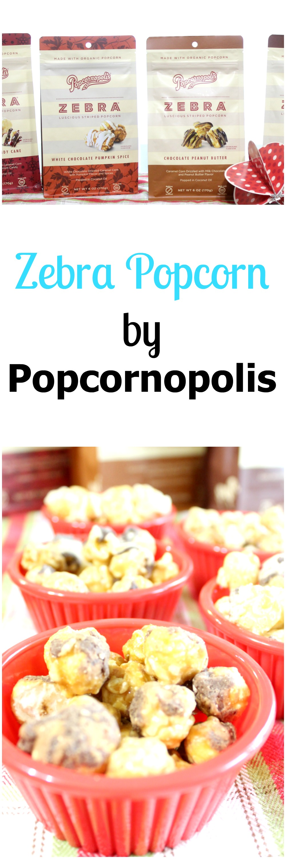 Holiday flavors of Zebra Popcorn by Popcornopolis makes a great Christmas gift!