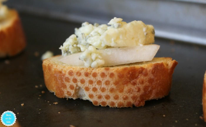 Easy to make Pear and Blue Cheese Crostinis for Holiday Parties
