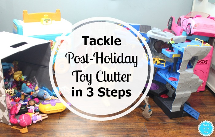 Here's how I tackle post-holiday toy clutter in 3 steps with Purell for disinfecting!