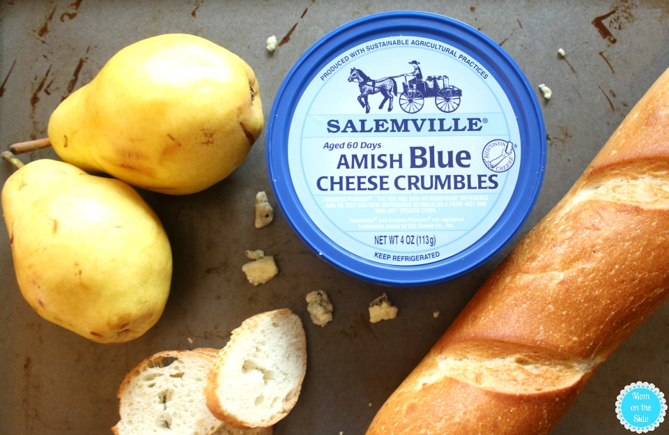 Pear and Blue Cheese Crostinis with Salemville Cheese