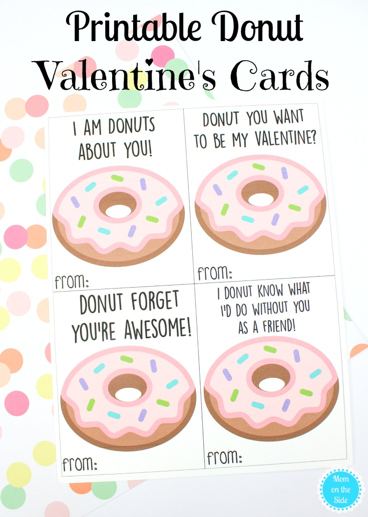 graphic about Donut Printable referred to as Printable Donut Valentine Playing cards for Youngsters Mother upon the Aspect