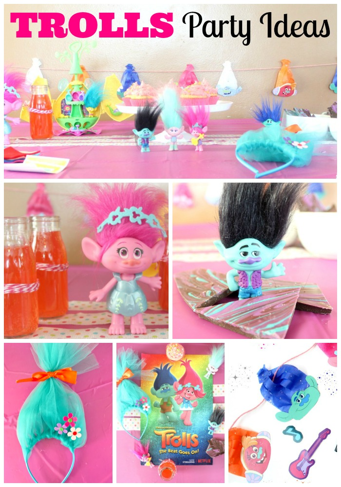 Fun and Easy Trolls Party Ideas including food and printable decorations to celebrate Trolls The Beat Goes On on Netflix!