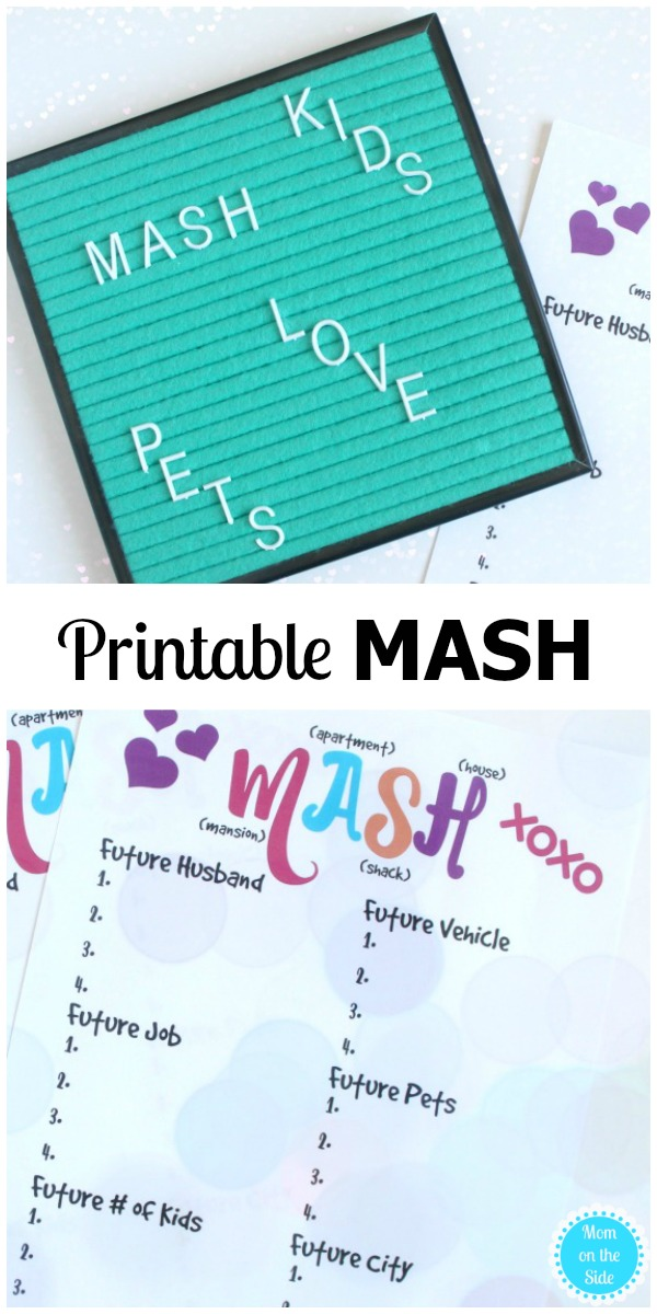 How to play the game MASH + Free Printable