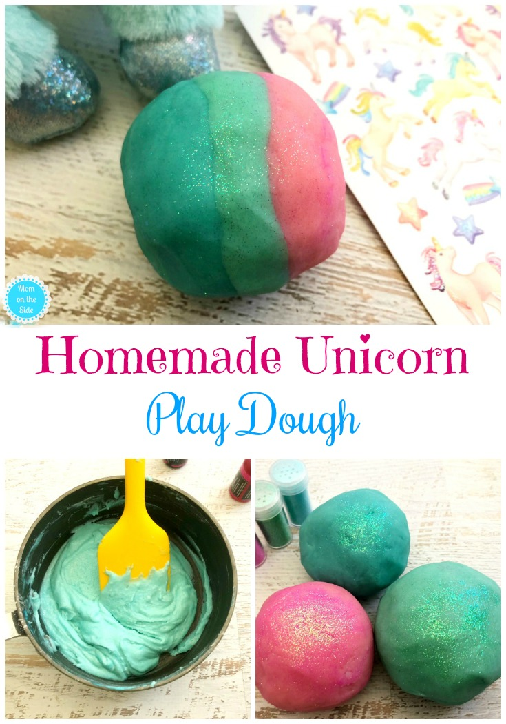 Easy Homemade Playdough Recipe: Unicorn Play Dough perfect for adding to the list of Unicorn Birthday Party ideas!