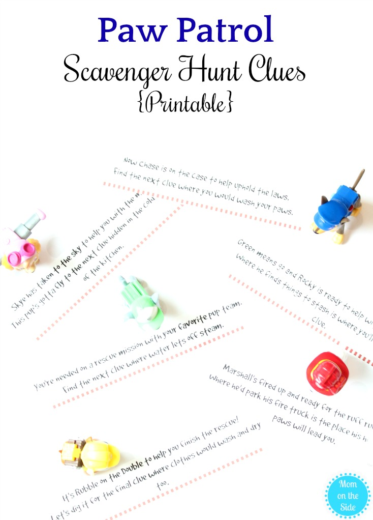 image about Printable Treasure Hunt Clues named Rescue Mission Pleasurable with Paw Patrol Scavenger Hunt Clues