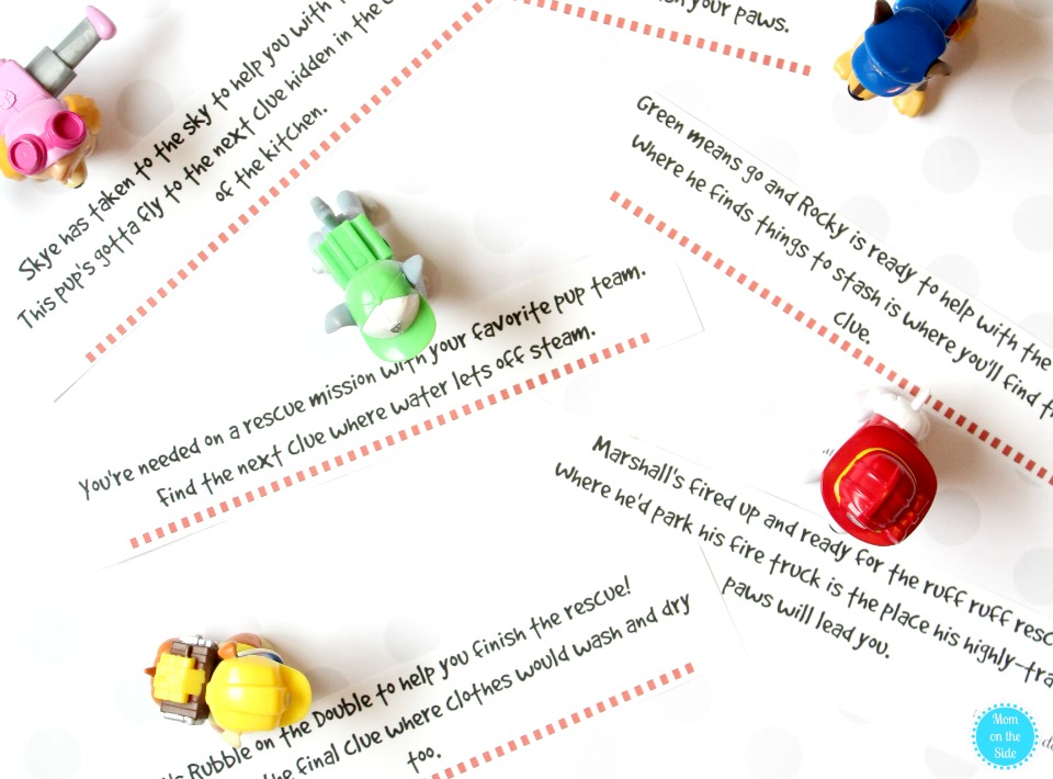Rescue Mission Fun with Paw Patrol Scavenger Hunt Clues Printable