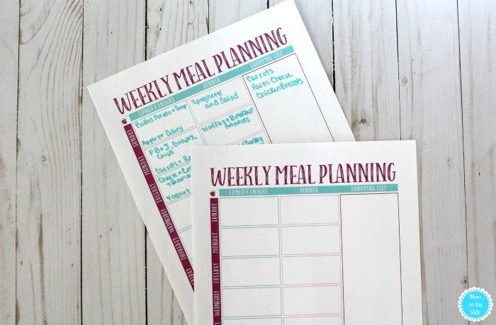 Printable Weekly Meal Planner to help save money on groceries for large families.