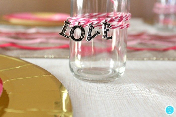 Valentine's Day Family Dinner Tablescape and DIY Love Bottles