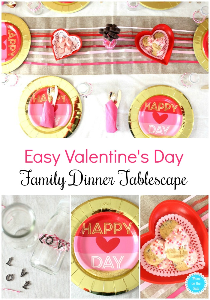 Valentines Ideas for Families:  simple Valentine's Day Family Dinner Tablescape