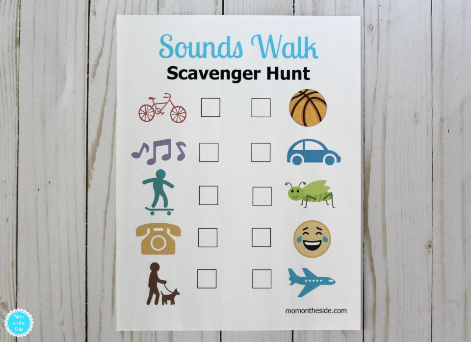Printabe Sounds Walk Scavenger Hunt for Kids