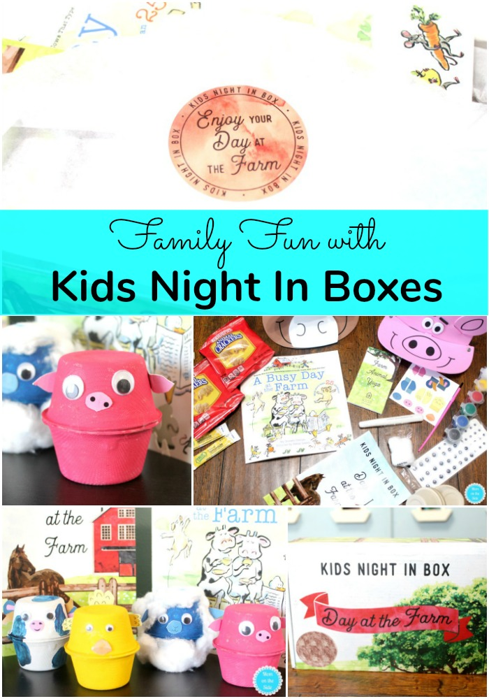 Plan a family date night at home with Kids Night In Boxes with crafts and snacks for kids and more!