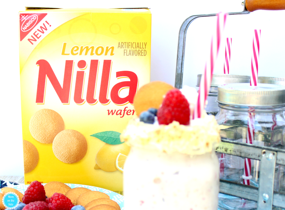 Summertime Rasberry Lemon and Blueberry Shake made with Nilla Wafers