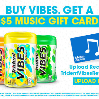 Trident VIBES Gum Free iTunes Gift Card Offer