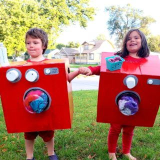 Last Minute Twins Costumes made with Amazon Smile Boxes