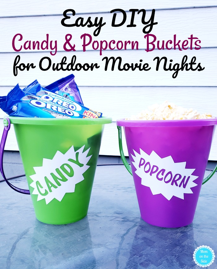 Candy Buckets for Outdoor Movie Night
