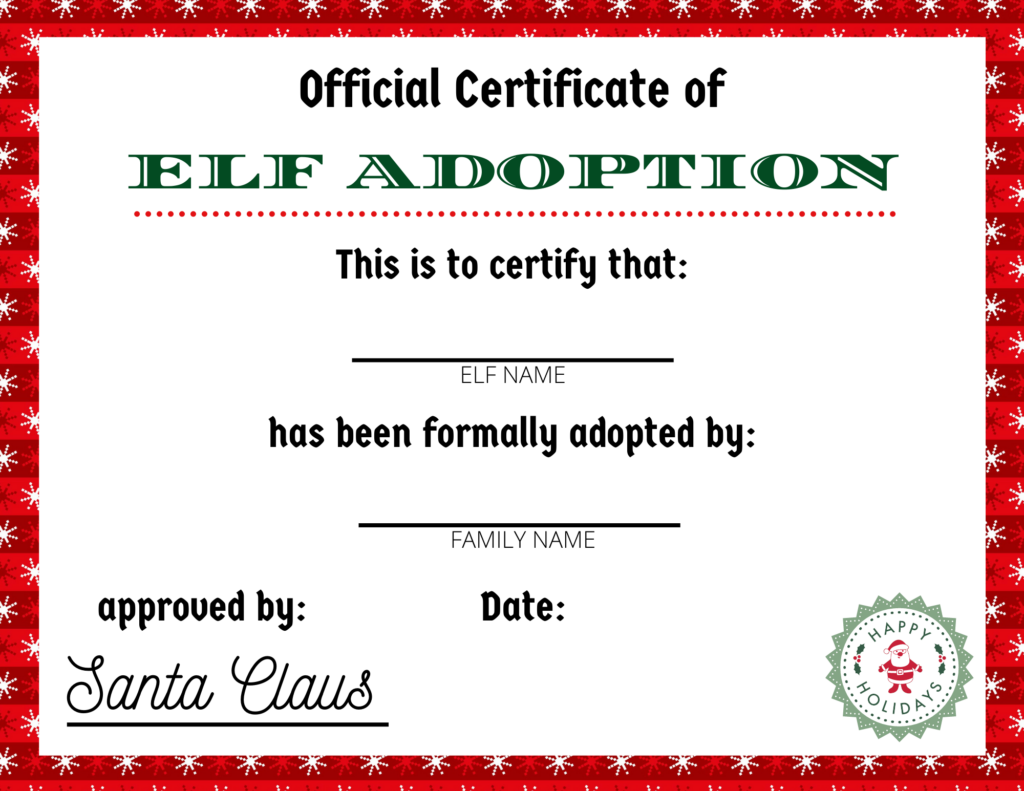 Elf On The Shelf Adoption Certificate Printable For The First Visit
