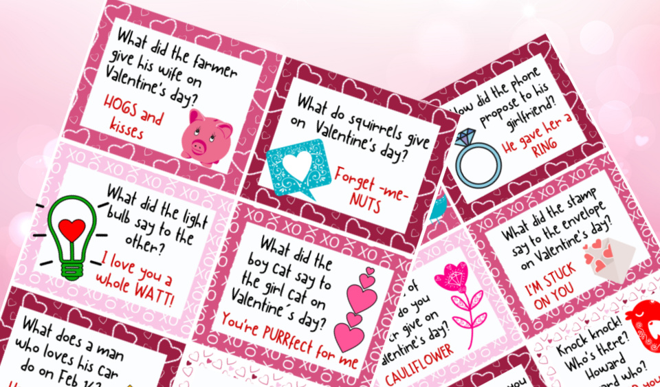 Printable Valentine Lunchbox Jokes for Kids