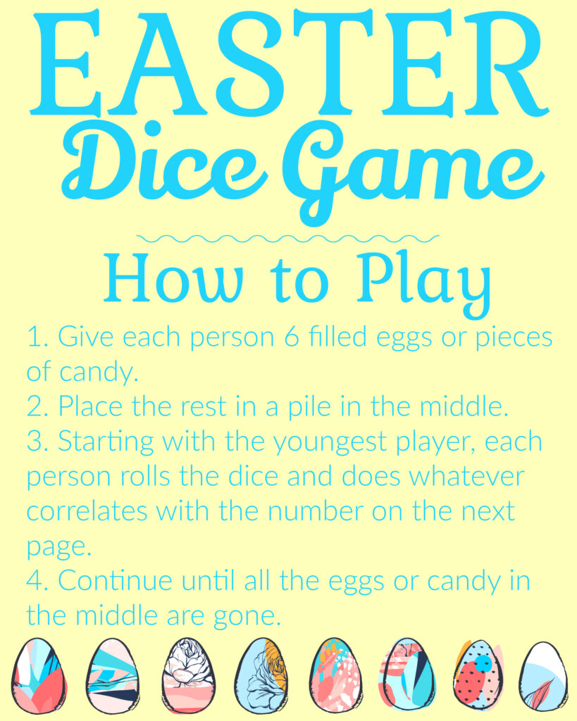easter dice game instructions