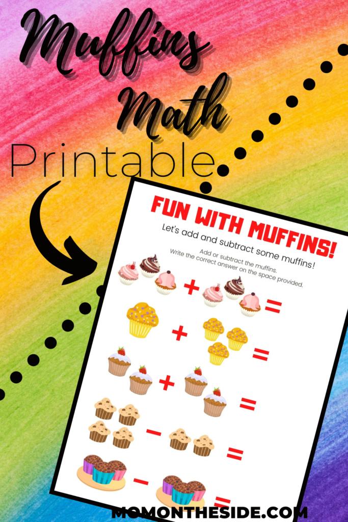 muffins math printable worksheet for kids